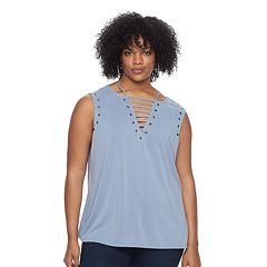 Plus Size Rock & Republic® Studded V-Neck Tee
