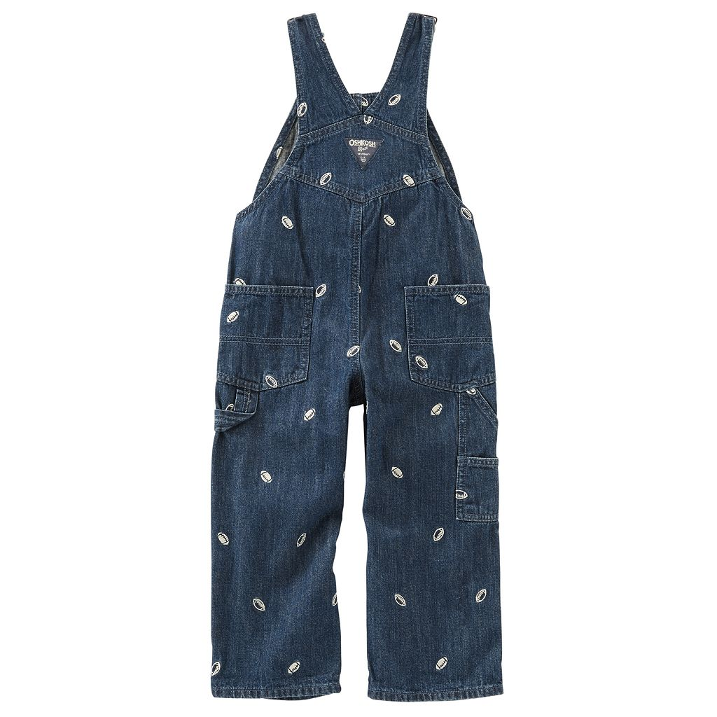 Baby Boy OshKosh B'gosh® Embroidered Football Denim Overalls