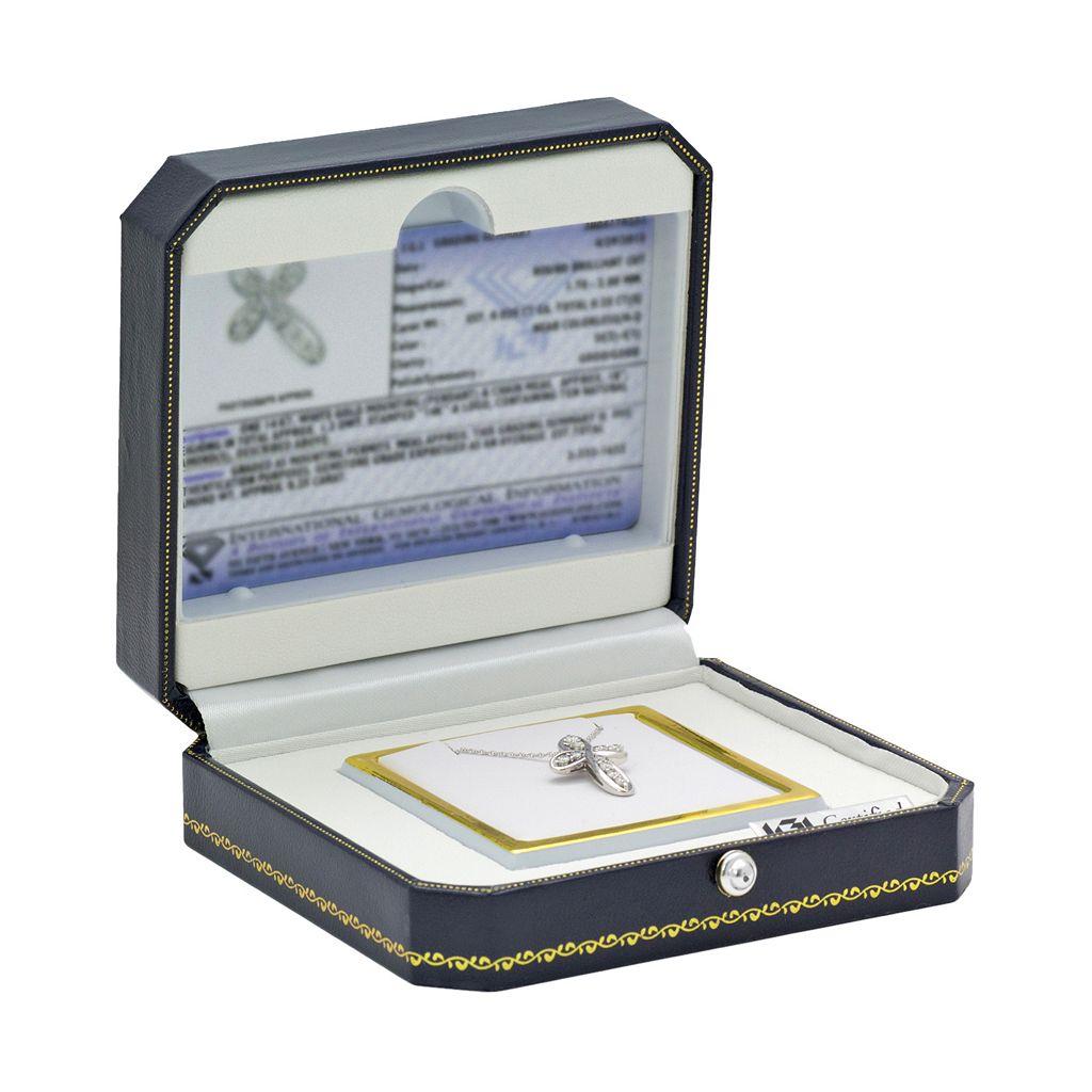 14k White Gold 1/4 Carat T.W. IGL Certified Diamond Cross Pendant