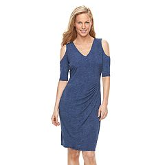 Women's Suite 7 Ruched Cold-Shoulder Sheath Dress