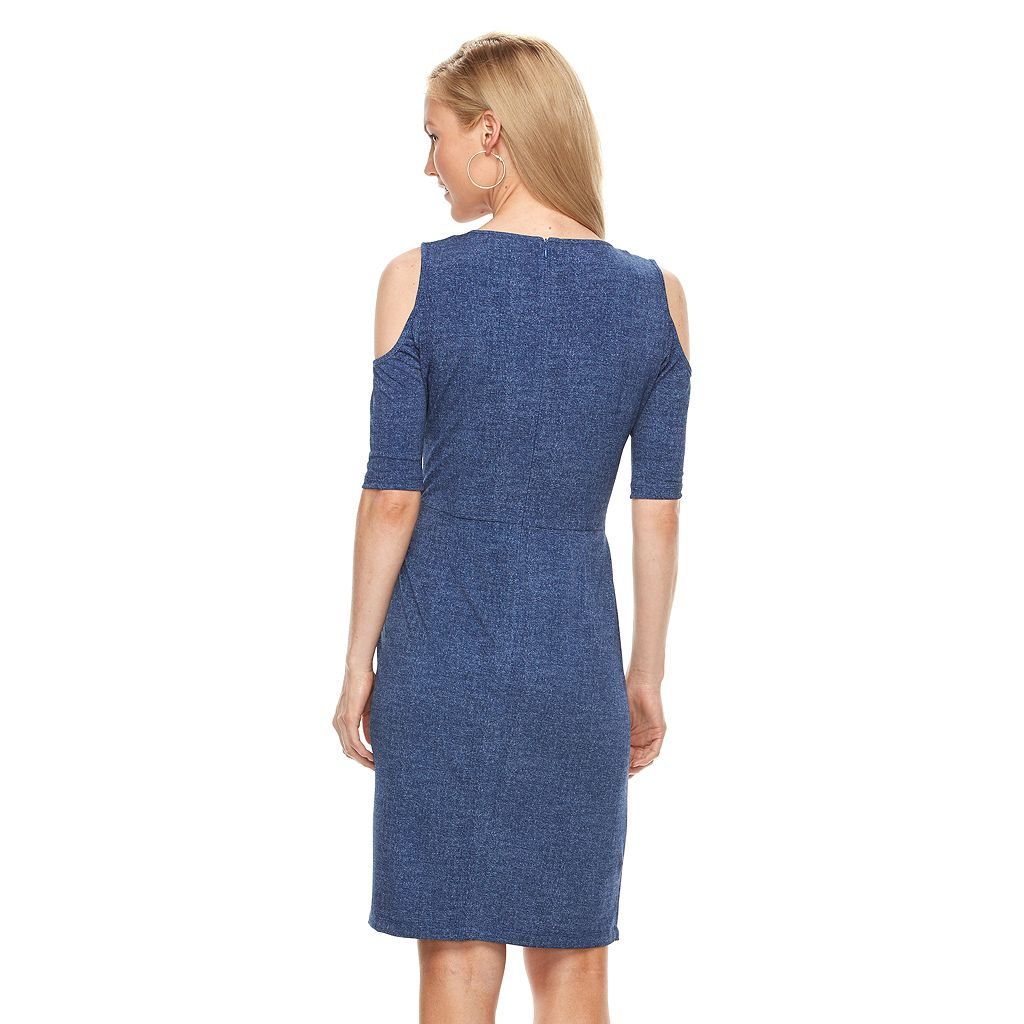 Women's Suite 7 Ruched Cold-Shoulder Sheath Dress