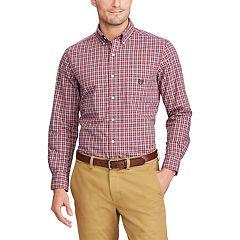 Big & Tall Chaps Regular-Fit Plaid Stretch Poplin Button-Down Shirt
