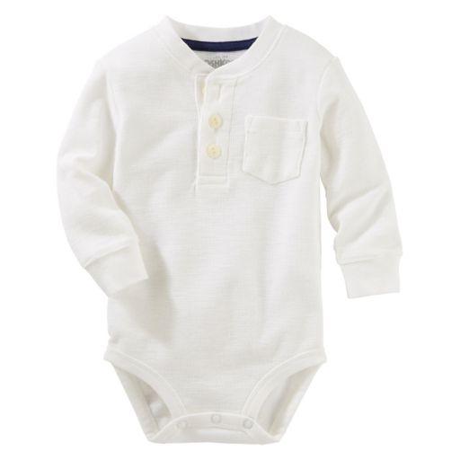 Baby Boy OshKosh B'gosh® Solid Thermal Henley Bodysuit