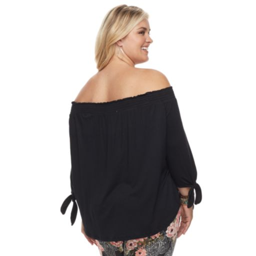 Plus Size French Laundry Smocked Off-the-Shoulder Top
