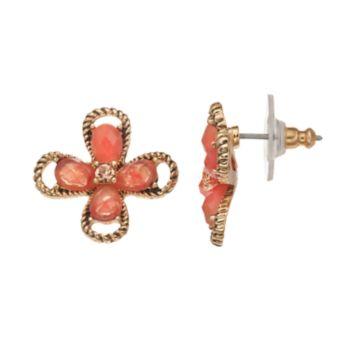 Dana Buchman Peach Flower Drop Earrings