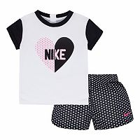 Girls 4-6x Nike Heart Tee & Dot Shorts