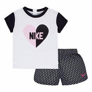 Girls 4-6x Nike Heart Tee & Dot Shorts