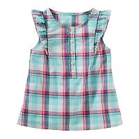 Toddler Girl OshKosh B'gosh® Plaid Ruffle Henley Top