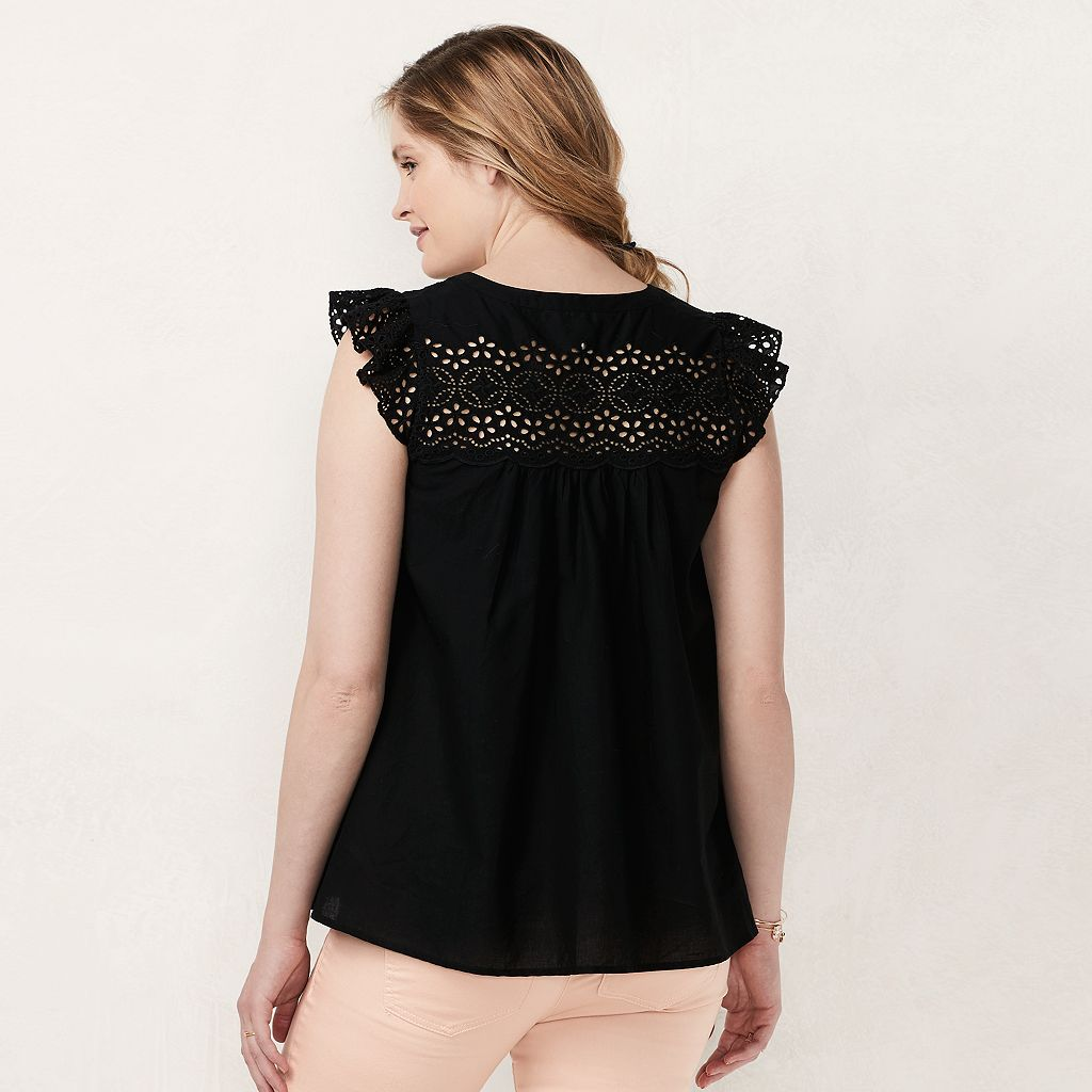 Maternity LC Lauren Conrad Eyelet Lace-Up Top