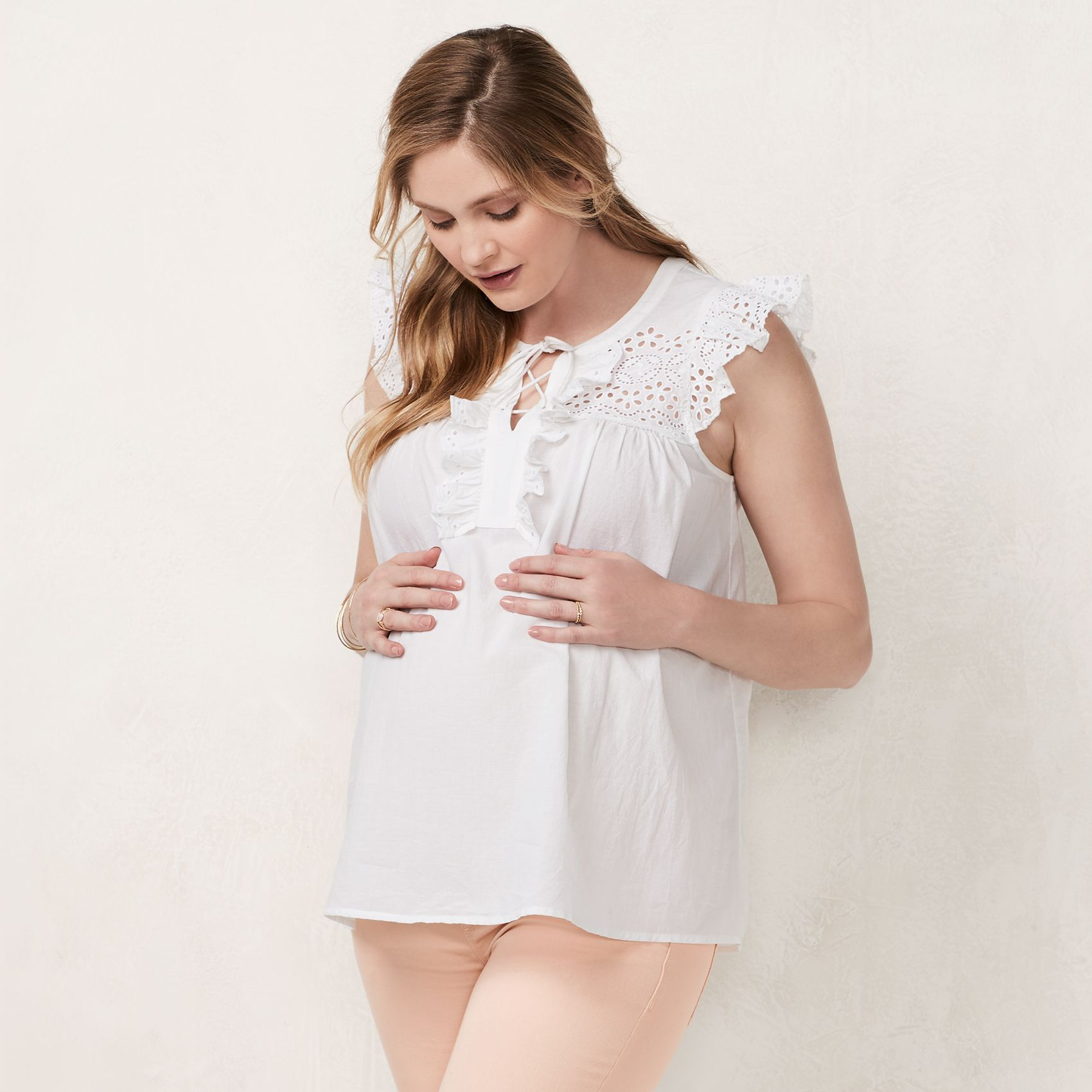 Maternity LC Lauren Conrad Eyelet Lace Up Top