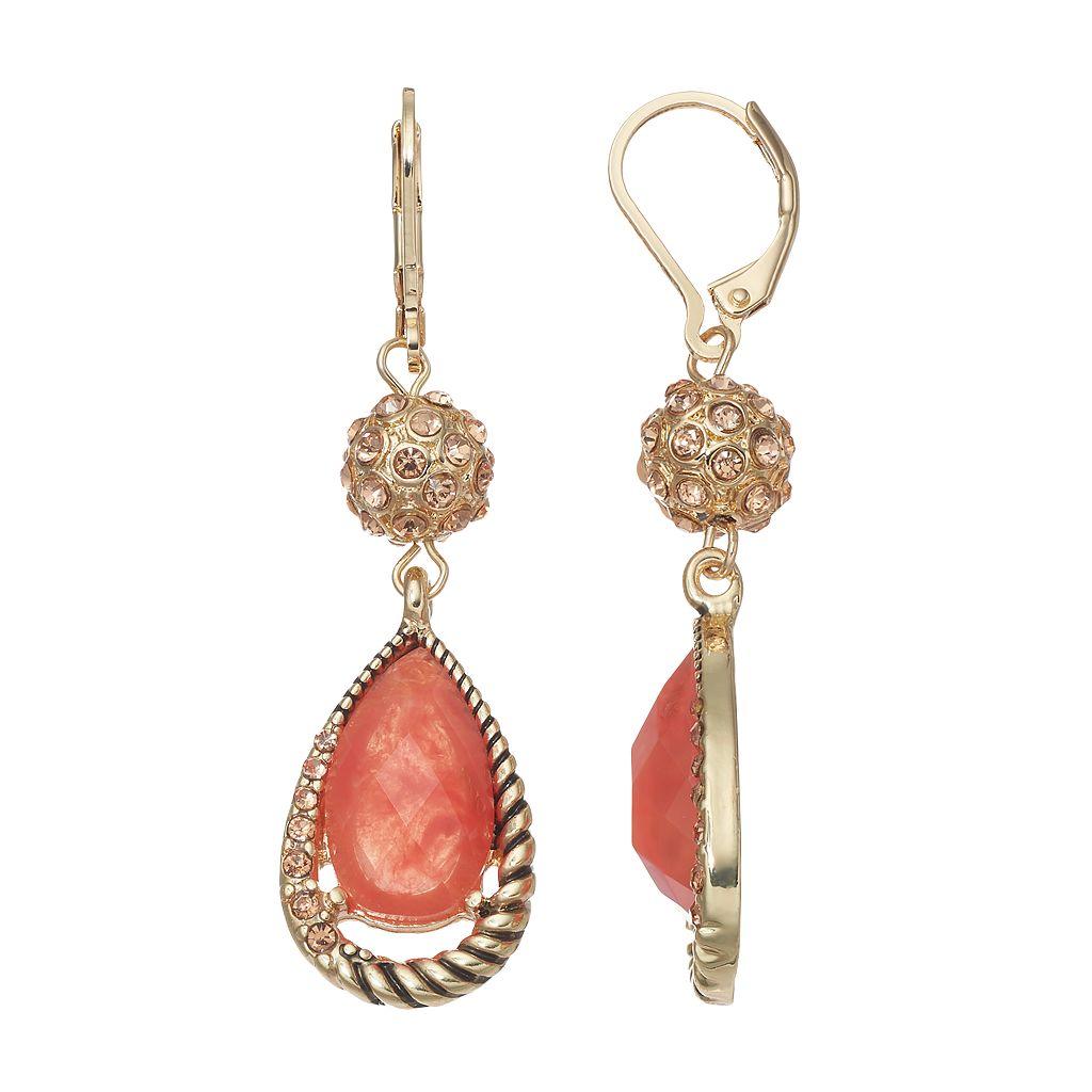 Dana Buchman Fireball Pink Teardrop Earrings