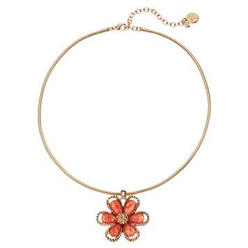 Dana Buchman Peach Flower Pendant Necklace