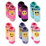 Girls 7-16 Days of the Week Smiley 6 pkNo-Show Socks