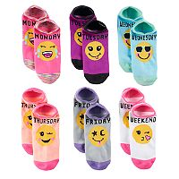 Girls 7-16 Days of the Week Smiley 6-pk. No-Show Socks