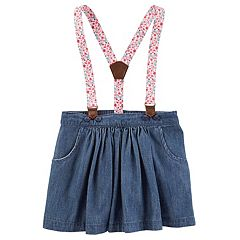 Toddler Girl OshKosh B'gosh® Floral Suspender Chambray Skirt