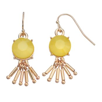 Yellow Stone Fringe Drop Earrings