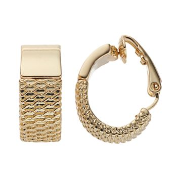 Dana Buchman Textured Clip On Hoop Earrings