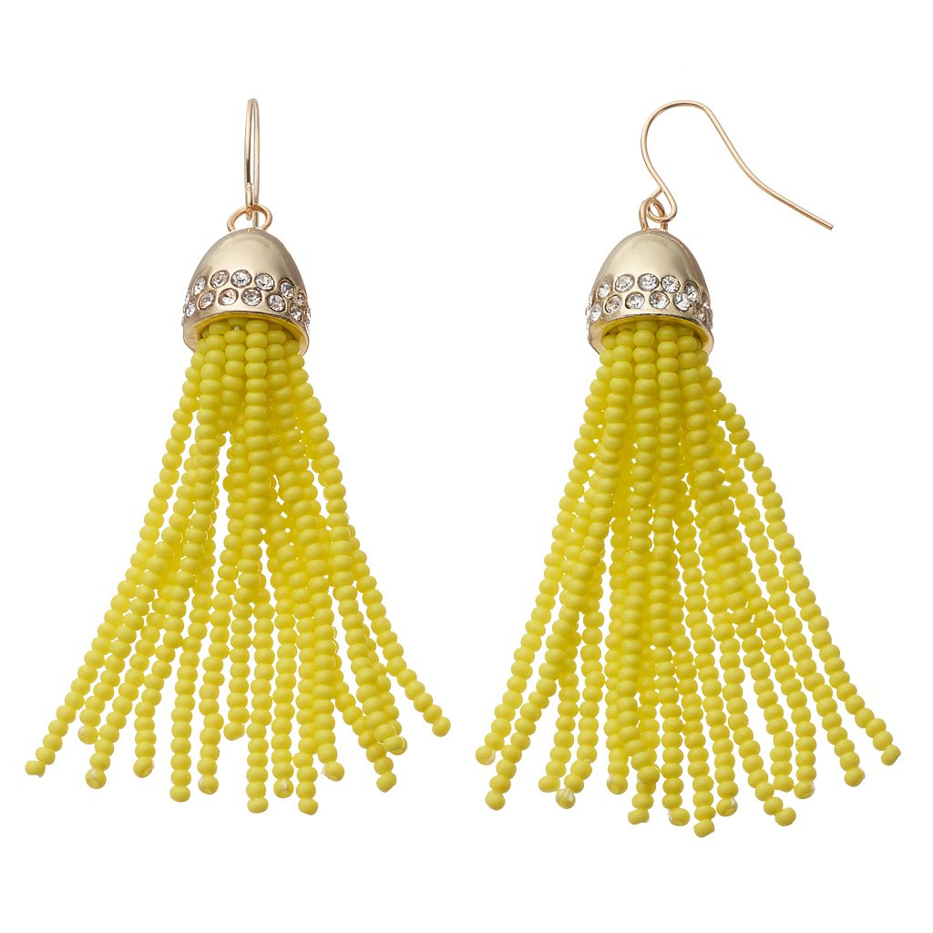Yellow Seed Bead Tassel Drop Earrings