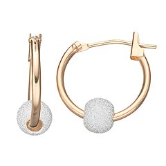 Taylor Grace Two Tone 10k Gold Ball Hoop Earrings