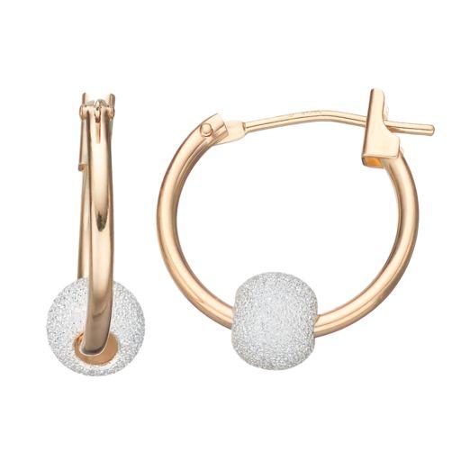 Taylor Grace Two Tone 10k Gold Ball Hoop Earrings