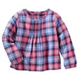 Toddler Girl OshKosh B'gosh® Pleated Plaid Woven Top
