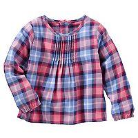 Toddler Girl OshKosh B'gosh® Pleated Plaid Woven Top