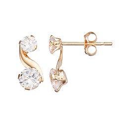 Taylor Grace 10k Gold Cubic Zirconia Swirl Drop Earrings