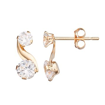 Taylor Grace 10k Gold Cubic Zirconia Swirl Drop Earrings