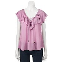 Juniors' Rewind Ruffle Lace-Up Top