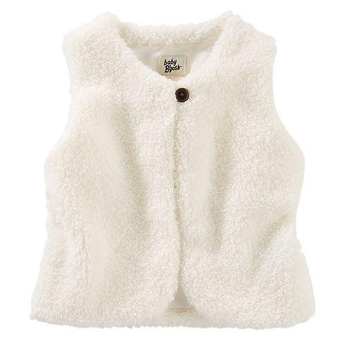 Toddler Girl OshKosh B'gosh® Ivory Sherpa Vest