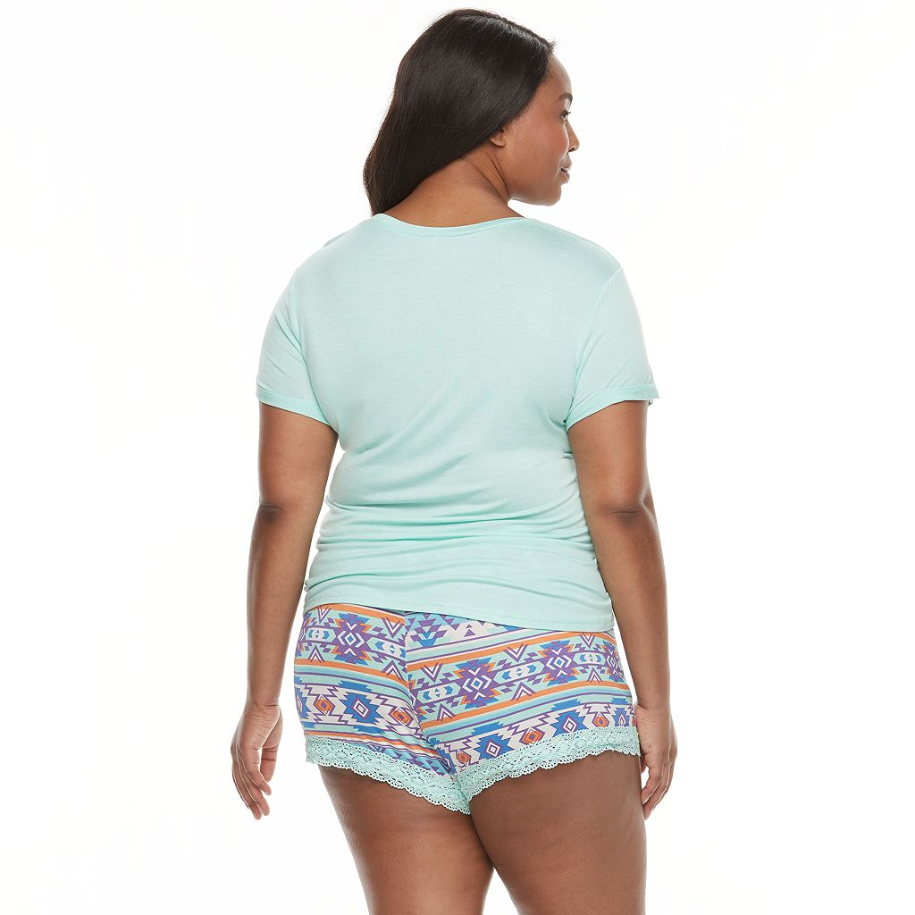 Juniors' Plus Size Wallflower Pajamas: Tee & Shorts PJ Set