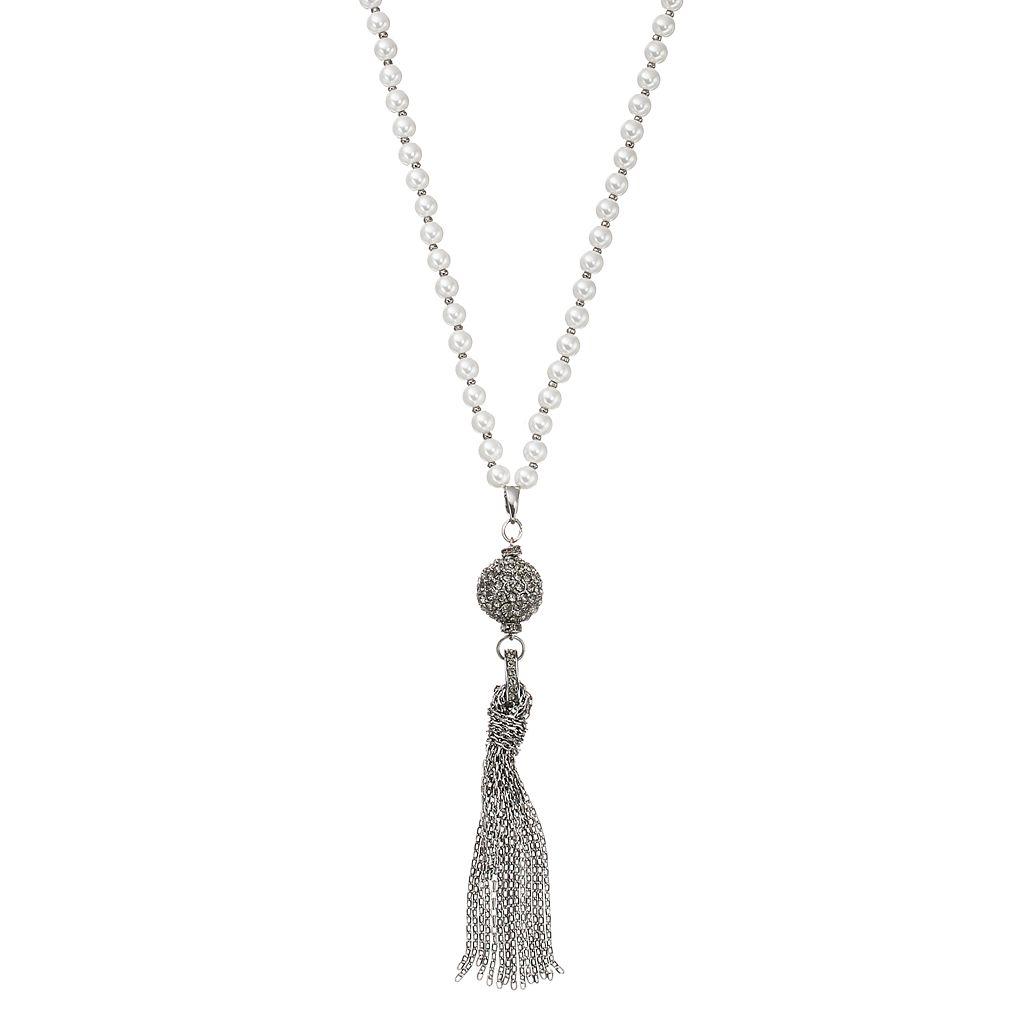 Simply Vera Vera Wang Long Fireball Tassel Pendant Simulated Pearl Necklace