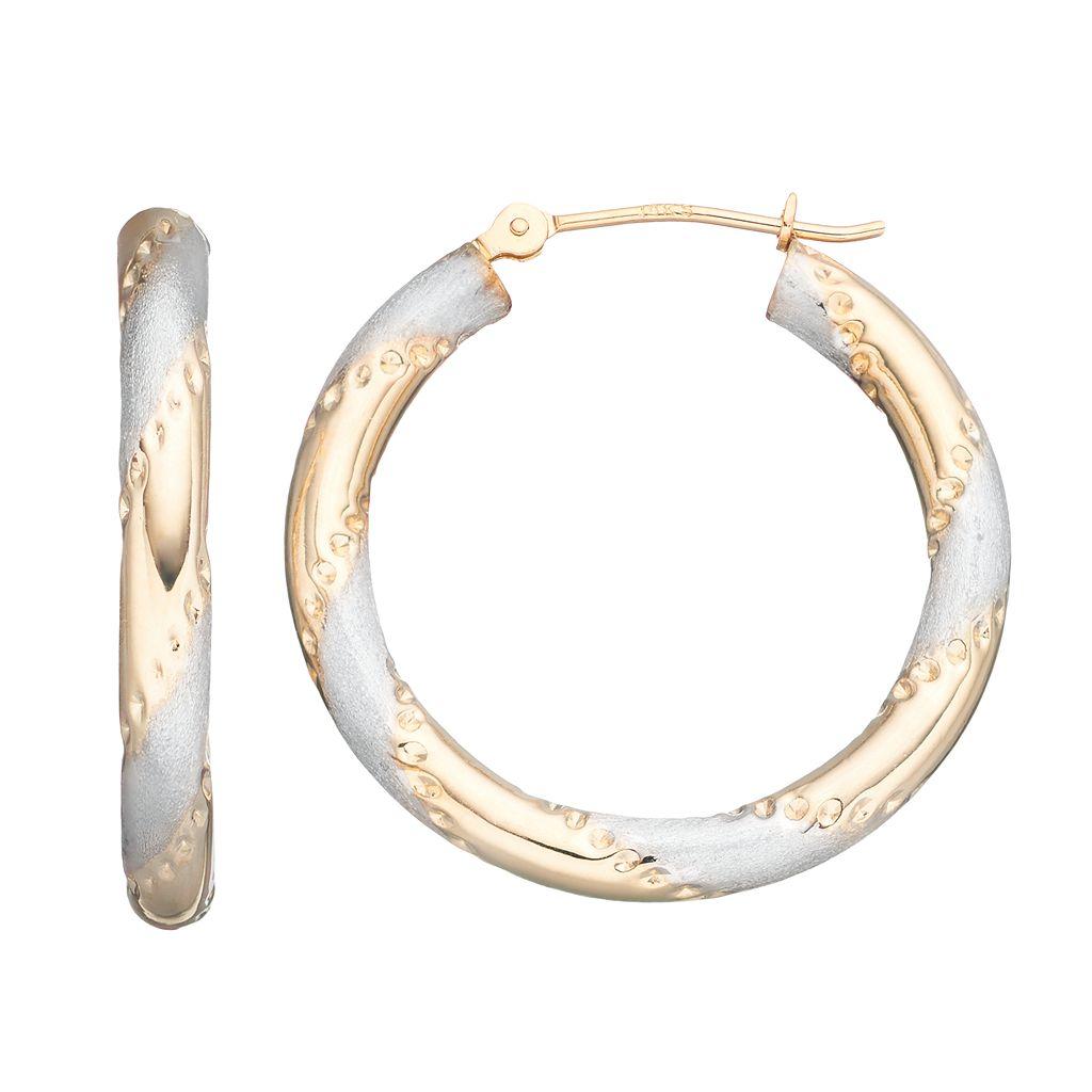 Forever 14K Striped Hoop Earrings