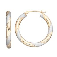 Forever 14K Striped Hoop Earrings