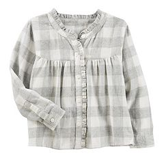 Toddler Girl OshKosh B'gosh® Ruffled Sparkle Plaid Top