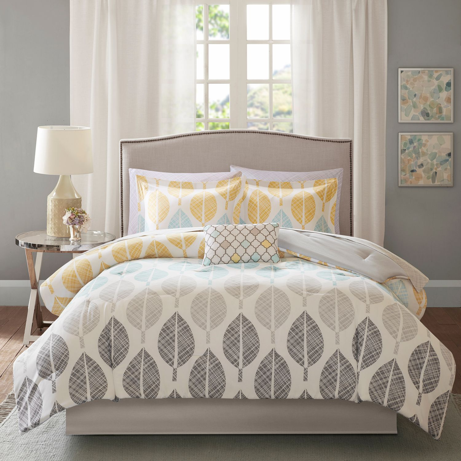 Yellow gray bedding Better Homes Madison Park Essentials Pelham Bay Comforter Set Coral Yellow Kohls Yellow Comforters Bedding Bed Bath Kohls