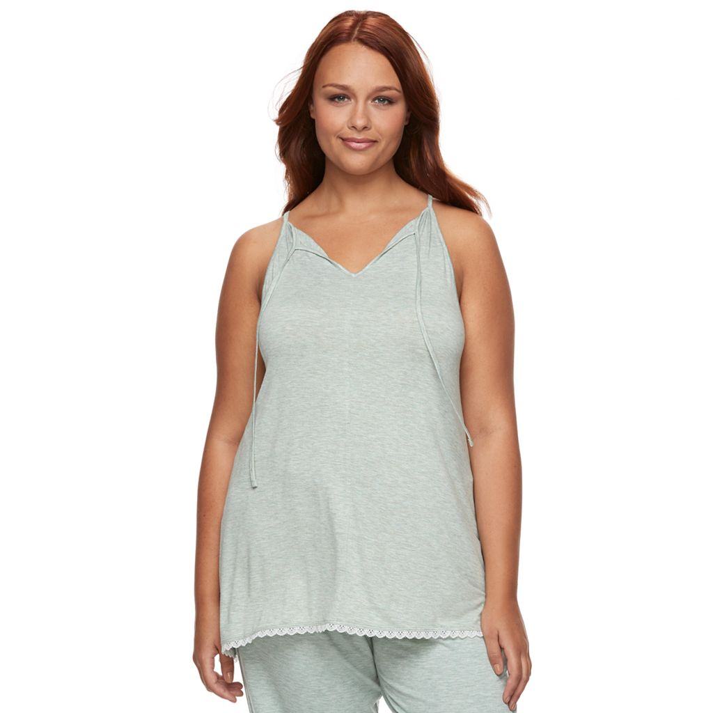 Plus Size SONOMA Goods for Life™ Pajamas: Essential Tie Back High Neck Tank
