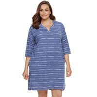 Plus Size SONOMA Goods for Life™ Pajamas: Easy Mornings Notch Neck Sleep Shirt