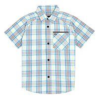 Boys 4-7 Hurley Plaid Raglan Button Down Shirt