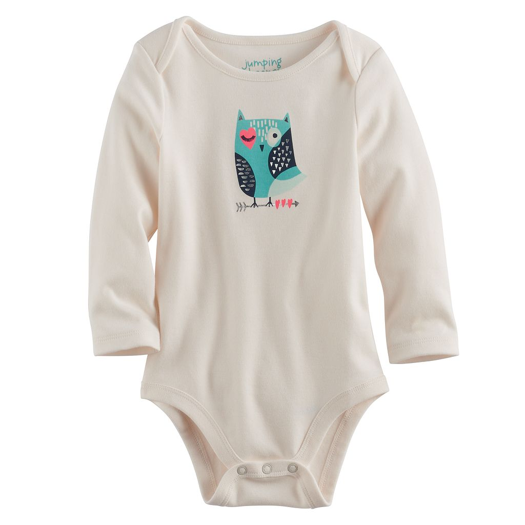 Baby Girl Jumping Beans® Foiled Owl Graphic Bodysuit