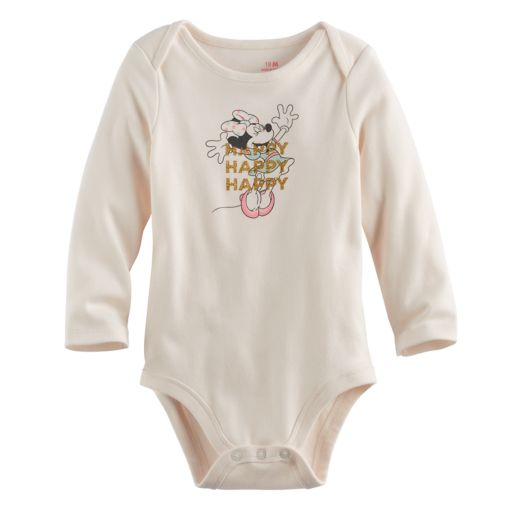 "Disney's Minnie Mouse Baby Girl ""Happy"" Glitter Graphic Bodysuit by Jumping Beans®"