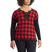 Plus Size Chaps Buffalo Check Sweater