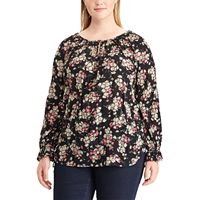 Plus Size Chaps Floral Crinkle Top