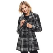Juniors' IZ Byer Plaid Double-Breasted Coat