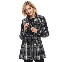 Juniors' IZ Byer California Plaid Double-Breasted Coat