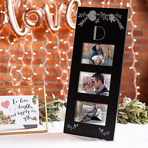 "Cathy's Concepts Black Monogram 3-Opening 5.5"" x 3.5"" Collage Frame"