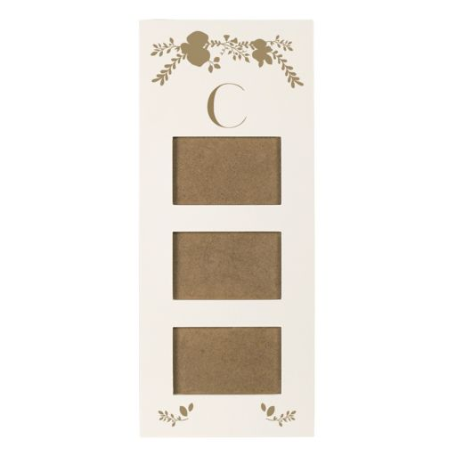 """Cathy's Concepts Gold Finish Monogram 3-Opening 5.5"""" x 3.5"""" Collage Frame"""