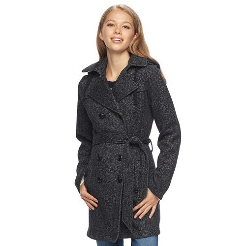 Juniors' IZ Byer Double-Breasted Fleece Trench Coat