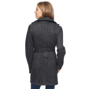 Juniors' IZ Byer Double-Breasted Fleece Trench Coat