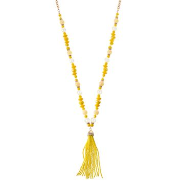 Long Yellow Beaded Tassel Necklace